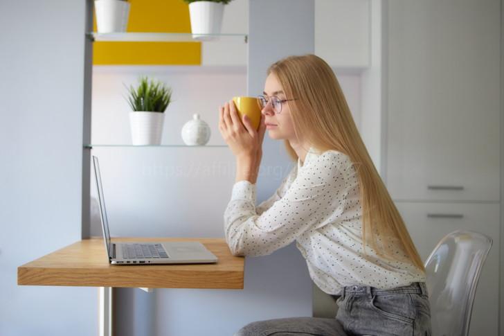 パソコンに向き合う女性